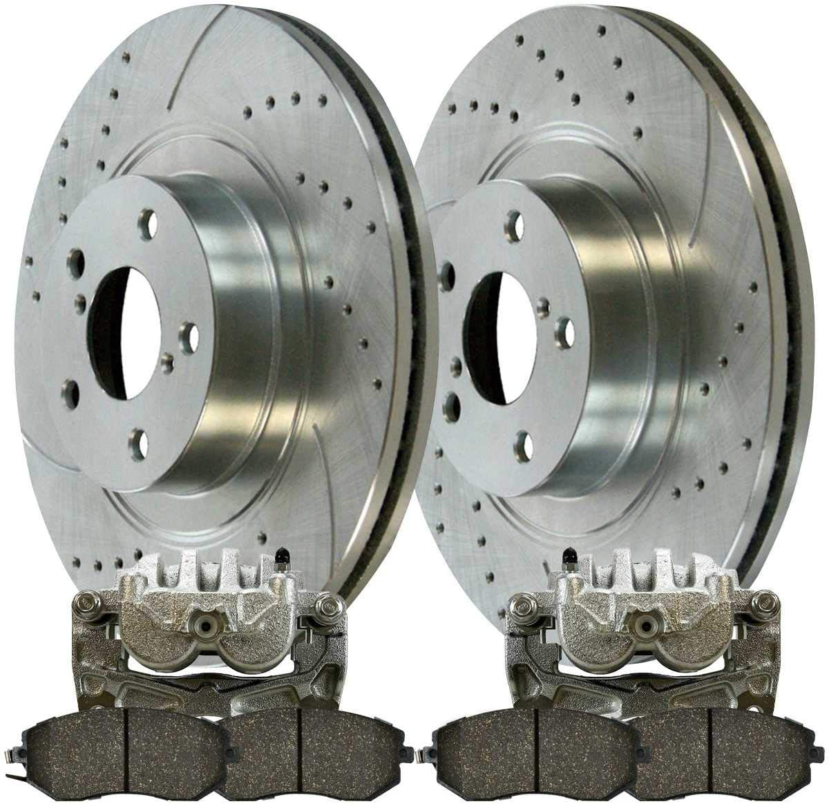 Safety and trust Long Beach Mall AutoShack SRBRPKG00088 Front Drilled Ro Brake Slotted Silver
