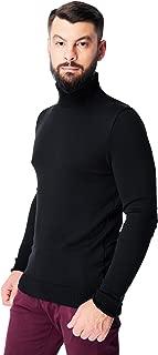 Men's Merino Wool Turtleneck Sweater Classic Midweight Long Sleeve Pullover