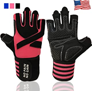 Weight Lifting Gloves Work Out Gym Gloves Men Women Crossfit with Wrist Wraps Support,  Anti-Slip Grip Half Finger Gloves for Exercise,  Weightlifting Hanging, Rowing, Biking, Training and More