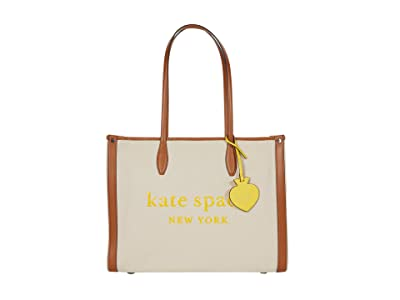 Kate Spade New York Market Canvas Large Tote (Natural) Handbags