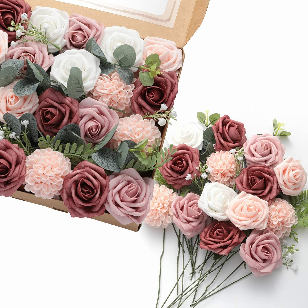 DerBlue Artificial Flowers Combo Realistic Rose Fake Stem Max 58% OFF f with excellence