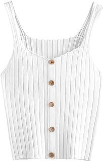 d1cad58d1d SweatyRocks Women s Sleeveless Vest Button Front Crop Tank Top Ribbed Knit  Belly Shirt