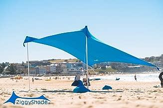 ZiggyShade Family Beach Sunshade – Lightweight Sun Shade Tent with Sandbag Anchors & 4 Free Pegs | UPF50+ UV Quality Lycra Fabric | Large & Portable | Canopy for Parks & Outdoor