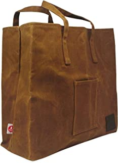 Give Me Fresh No. 1, Waxed Canvas Grocery Bag, Handy Pocket, Structured but Soft and Foldable, Carry This Wax Canvas Grocery Bag Over Shoulder or In Hand, Brown 16 Oz Waxed Cotton Canvas