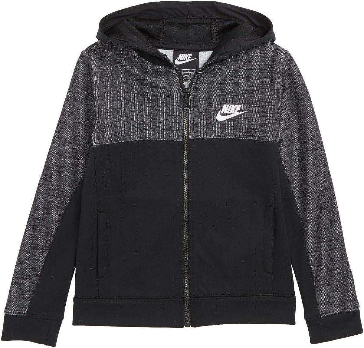 Nike Little Boys AV15 Zip Hoodie Black/Grey Size 6