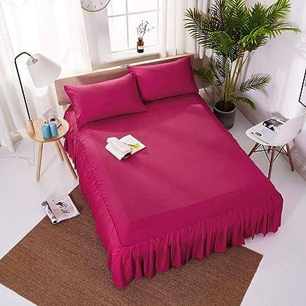 QXJR ベッドスカート,いベッドスカート シングル,敷き布団,シート ベッドカバー 花柄 単色 ラップアラウンドスタイル シワ 寝具 ベッド用品-ローズレッド-120*200センチメートル