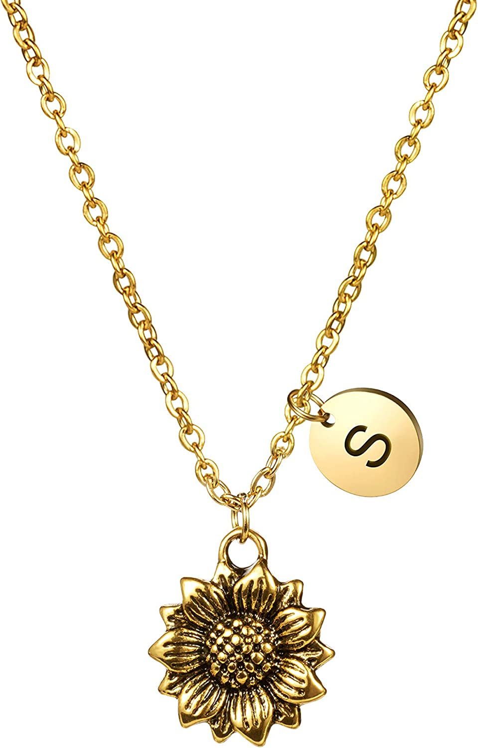JoycuFF Dainty Antique Gold Sunflower Necklace Personalized Cute Monogram Pendant Initial Charm Letter Engraved Inspirational Gifts for Her Women Teen Girl