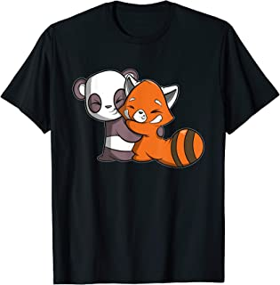 Panda Bär mit Fuchs - Panda Liebe - Süsses T-Shirt