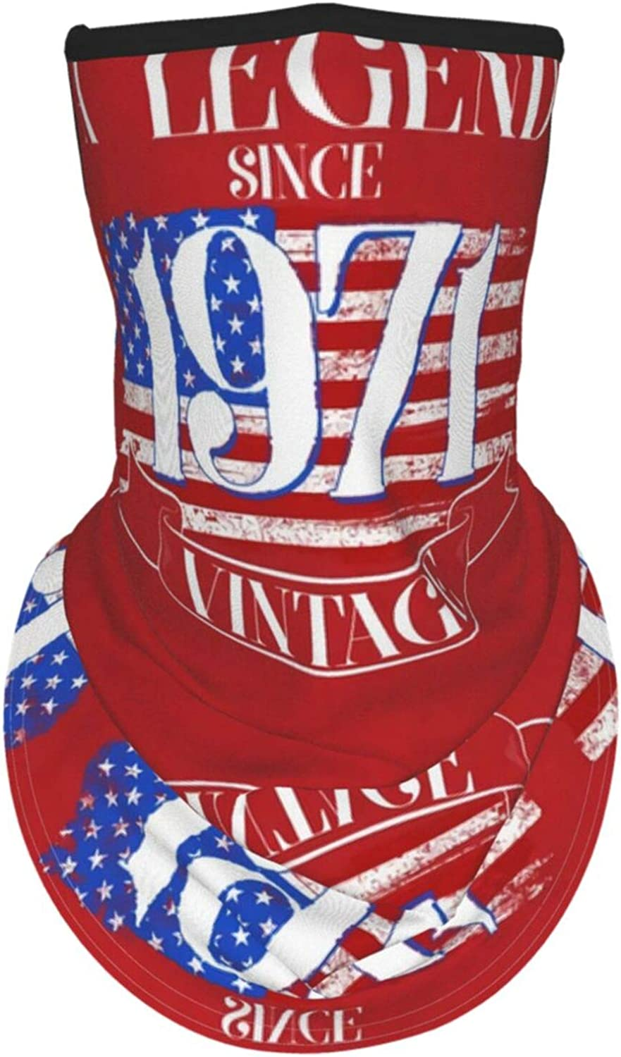Ear Hangers Face Balaclava 50th Birthday Legend Since 1971 Vintage Usa Flag Red Protective Cover Wristband Bandanas Neck Gaiter Dust-Proof,Anti-Pungent Gas,Washable