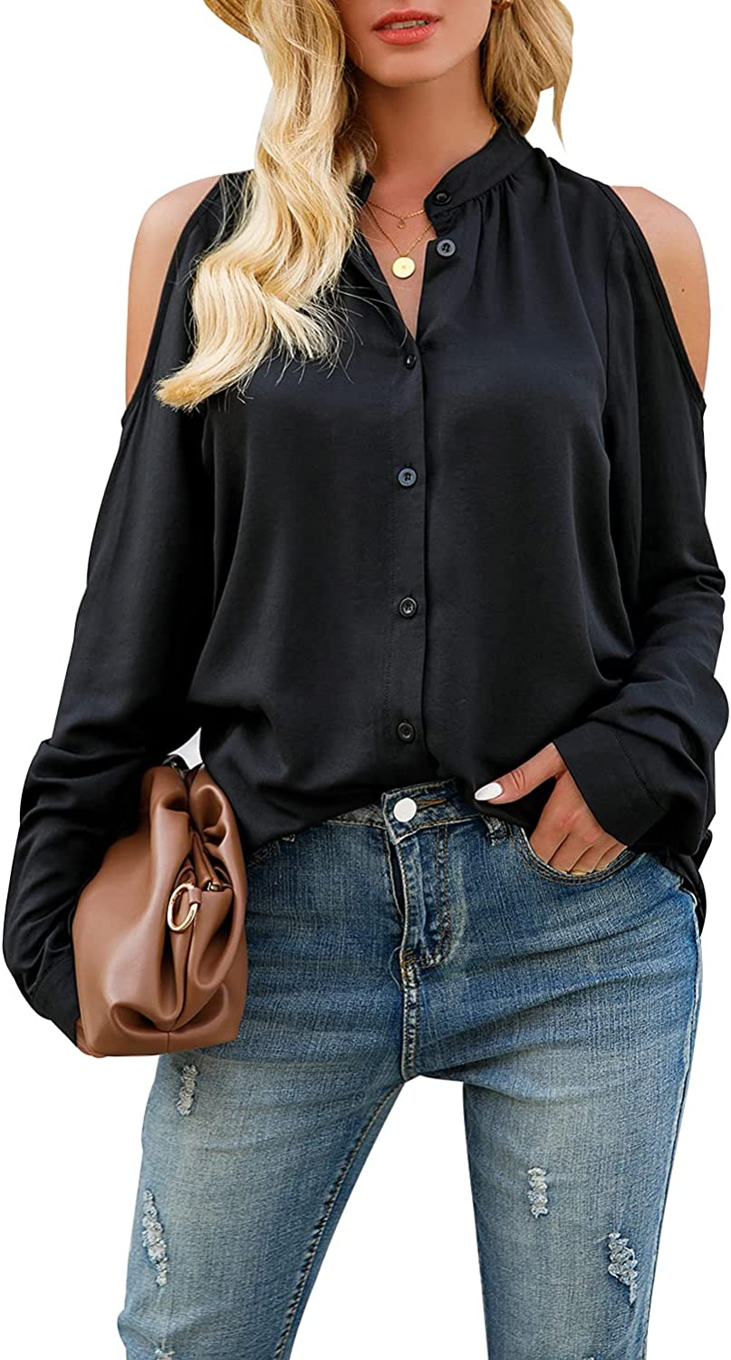 Women's Casual Shirts Tops Cold Shoulder Crew Neck Long Sleeve Button Down Loose Fit Blouses