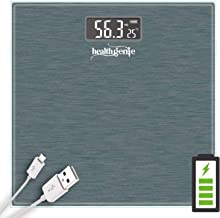 Healthgenie Digital weighing machine for human body weight, room temperature display with USB charging (Dark Grey)
