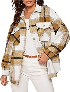 Women's Girl Plaid Button Down Long Sleeve Shacket Jacket...