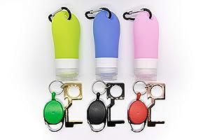 Americlean Ltd Silicone Portable hand sanitizer holder, hand sanitizer holder keychain, keychain hand sanitizer with retractable touchless door opener, door opener tool (2oz each bottle set of 3)