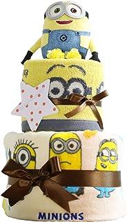 ミニオンズ Minions 出産祝い 2段 おむつケーキ ぬいぐるみ バスタオル パンパース テープタイプ S 女の子 男の子 男女兼用