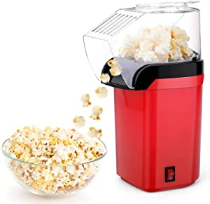 Air Popcorn Popper Maker, Mini Popcorn Machine with 5 Free Bags, Hot Air Popcorn Popper with Removable Measuring Cup for Home/Party, Easy to Clean, No Fuel with ETL Certification(Red)