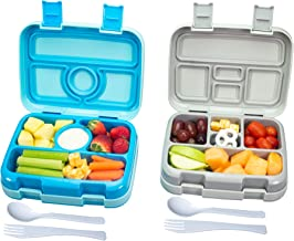 Bizz Travel Bento Box Set Lunch Boxes with Utensils, Removable Microwaveable, Dishwasher Safe Tray (2-Pack) Lunchbox Porta...