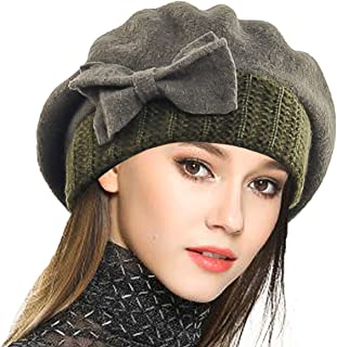 db7c94937b7 VECRY Lady French Beret 100% Wool Beret Floral Dress Beanie Winter Hat