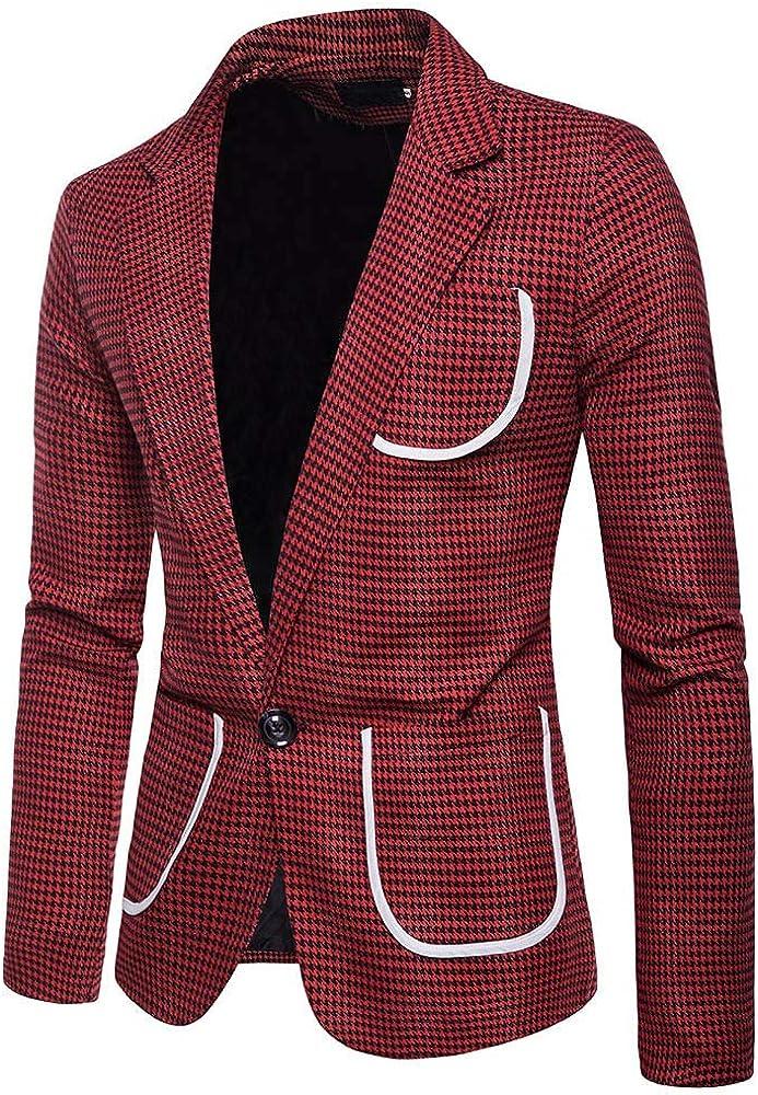 MODOQO Men's Slim Fit Sport Blazer Jacket Stripe Lapel Tuxedo for Weeding Party Dinner