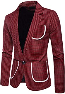 Mens Casual One Button Slim Fit Plaid Blazer Jacket Men's Casual One Button Fit Suit Blazer Coat Jacket Top Goosun Mens Pr...