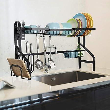 MOOACE Escurridor de trastes, Escurridor de platos ajustable sobre el fregadero, 2 niveles ampliable grande estante escurridor de platos, soporte extraíble, color negro