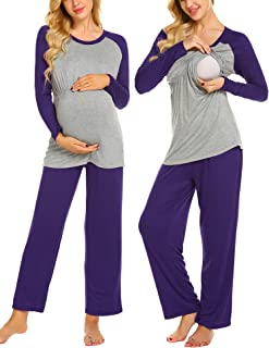 Ekouaer Women's Maternity Pajamas Set Long Raglan Sleeve Baseball Nursing Nightgown for Breastfeeding Sleepwear (S-XXL)