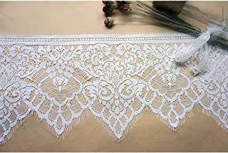 3 Meters White Eyelash Edge Lace Trim Ribbon for Bridal Shawl Lace top Dresses