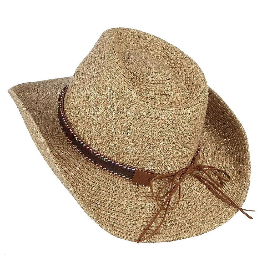 クリーム好戦的なうまれた男性と女性のレトロな太陽のジャズキャップ金属の羽の帽子装飾カウボーイ麦わら帽子