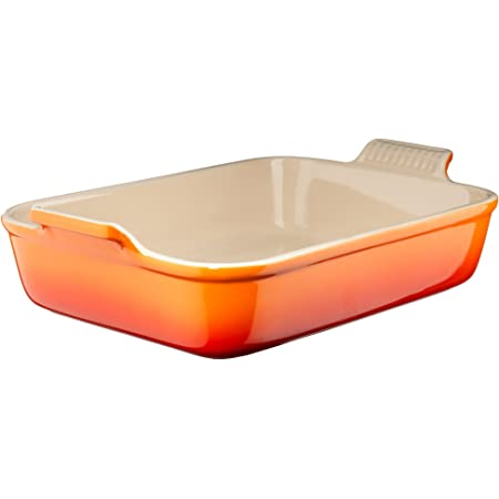 Le Creuset Heritage Stoneware Rectangular Dish, 10-1/2-by-7-Inch, Flame