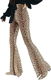 doublebabyjoy Women Leopard Print High Waist Flare Pants...