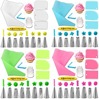 14 Pieces Cake Decorating Kit Supplies Pastry Icing Piping Tip Set +Bag Converter Stainless Steel Kitchen Baking Cake Decorating Tools Cream Mouth