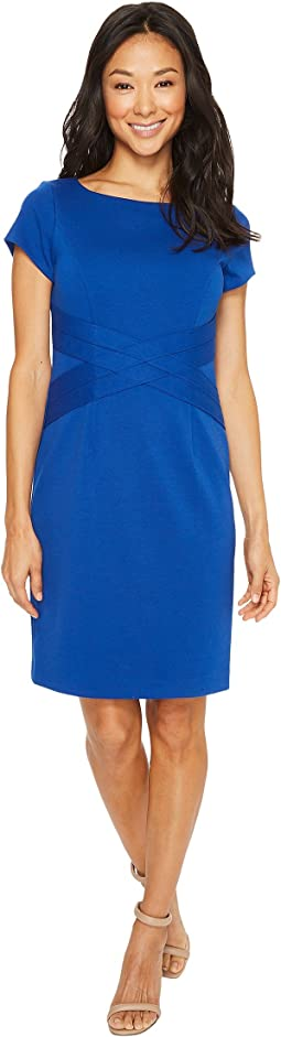 Short Sleeved Ponte Dress with Waist Detail