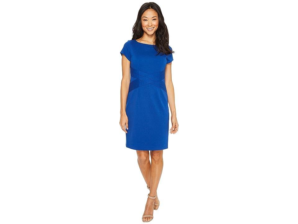 Ellen Tracy Short Sleeved Ponte Dress with Waist Detail (Cobalt) Women