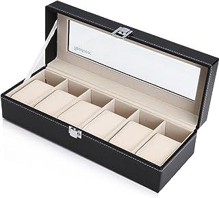 Readaeer Ecrin pour 6 montres/présentoir/boîte/rangement pour montres en PU et verre