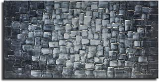 MyArton Large Abstract Silver Square Wall Art Hand Painted Textured Oil Painting on Canvas Ready to Hang 60x30inch