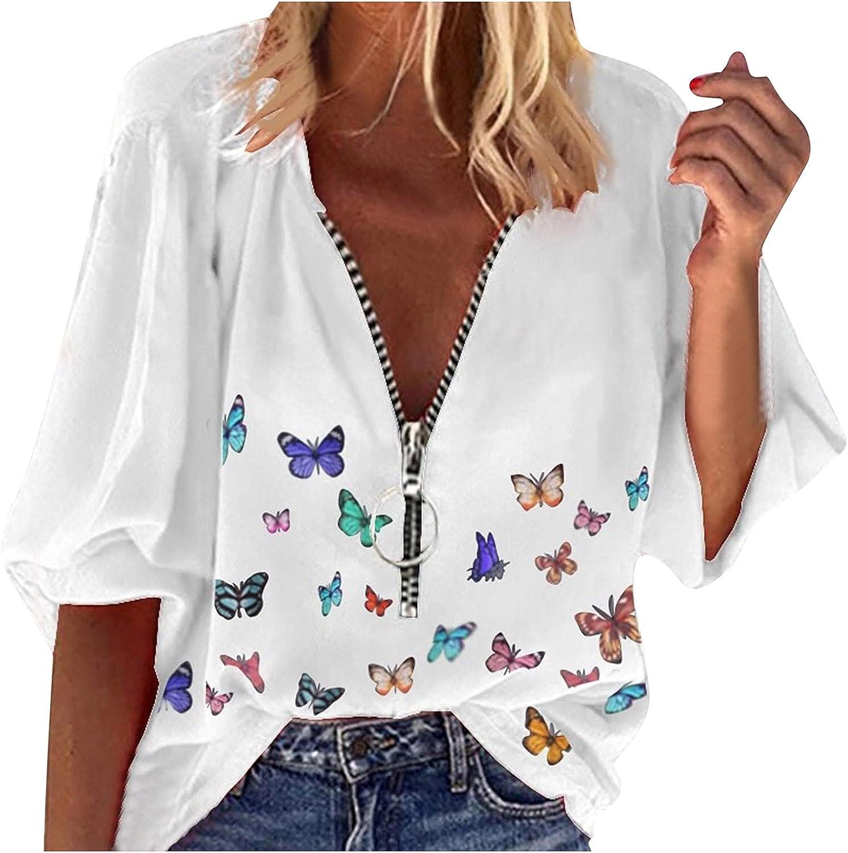 Aiouios Lightweight Sweatshirts for Women Graphic 1/2 Zipper up Long Sleeve White Shirt Butterfly Print Casual Blouses