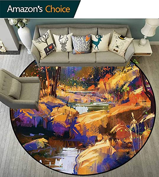 Fantasy Modern Machine Washable Round Bath Mat Vivid Colored Dreamy Environment With Water In Bedrocks Artful Spring Scene Print Non Slip Living Room Soft Floor Mat Diameter 71 Inch