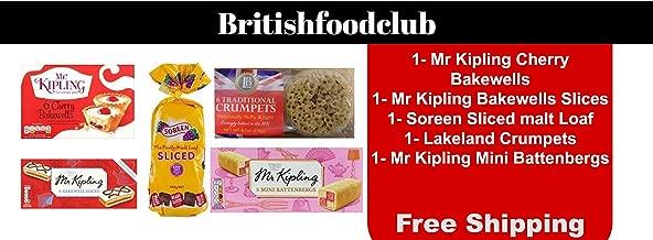 Bundle of 7 - Mr Kipling Cherry Bakewells 6 PK x 2 Mr Kipling Mini Battenberg 5 PK x 2 Mr Kipling Bakewell Slices 6 PK x 1 Soreen Malt Loaf x 2 Delivers 3-5 Days USA