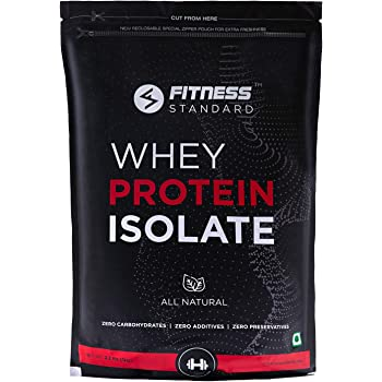Fitness Standard's Instantized 100% Whey Protein Isolate 1 kg | All Natural, No Additives, No Preservatives | 28.2g Protein, 0g Sugar, 7.1g BCAA | Unflavored | 33 servings.