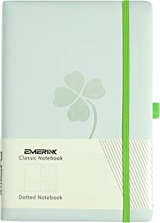 Leather A5 Dotted Notebook Journal,Lucky Clover, EMERINK Classic Notebook, Pocket, Elastic Closure, Pen Holder, Bookmark, 192 Pages, Quality Paper - 100gsm (Green Four Leaf Clover)