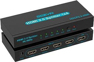 SGEYR 4K HDMI Splitter 1 in 4 Out HDMI Splitter 4 Ports HDMI Video Splitter Box Supports 4K@60Hz HDR Full Ultra HD 1080P a...
