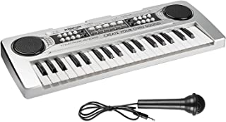 AIMEDYOU 37 Keys Kids Piano Keyboard Portable Electronic Musical Instrument Multi-Function Music Keyboard Early Learning Educational Toy Birthday Xmas Day Gifts for Kids (Silver)