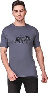 DELEXO Printed Men Round Neck Grey T Shirt