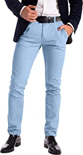 Mens Stretch Chino Trousers Designer Slim Fit Jeans Pant Cotton Spandex Bottom
