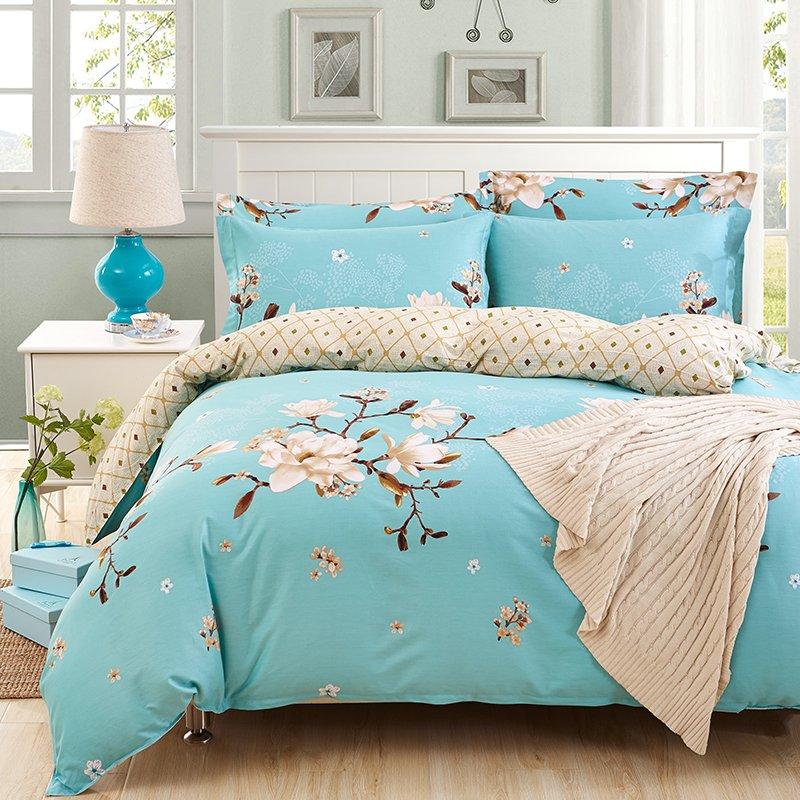 YOTA星月兔 全棉斜纹印花四件套 床单款设计 活性印染 1.5/1.8米床适用(200*230cm)岁月留香