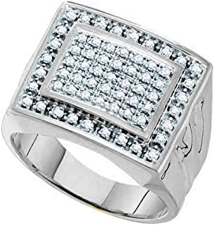 Dazzlingrock Collection 0.48 Carat (ctw) 10K Gold Round Cut White Diamond Mens Cluster Ring Wedding Band 1/2 CT