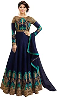 37cf8b6862 Fast Fashions Women's Embroidered Phantom Slik Semi Stitched Anarkali Gown ( Pink and Green_Free Size)