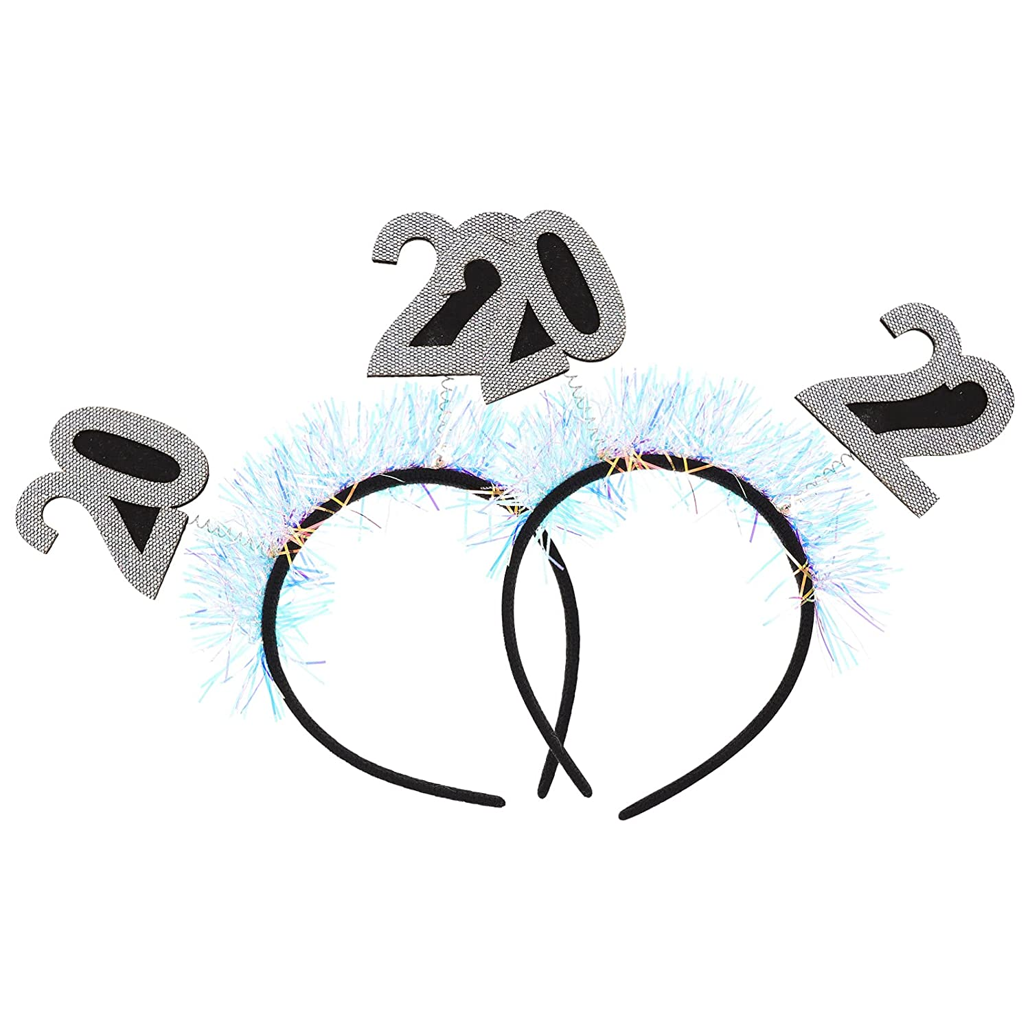 Beaupretty 2pcs New Year Headband 2022 with Boppers Tinsel Christmas New Years Eve Party Headband Hair Accessory for Women Girls
