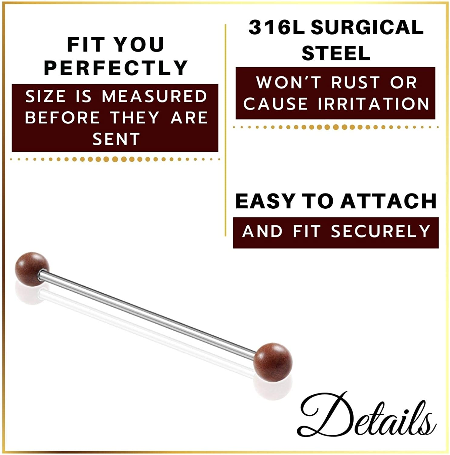 MATIGA Surgical Steel 14 Gauge Industrial Barbell Piercing Jewelry Cartilage Earring Scaffold Ear 5mm sawo Wood Ball More Choices