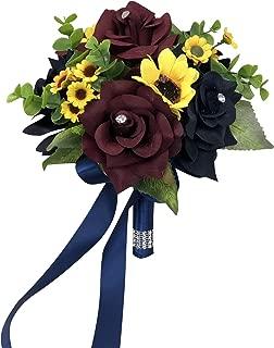 Angel Isabella, LLC Build Wedding Package - Beautiful Fall Wedding Marine Navy, Wine Burgundy, Ivory, Sunflowers Artificial Flower (6.5