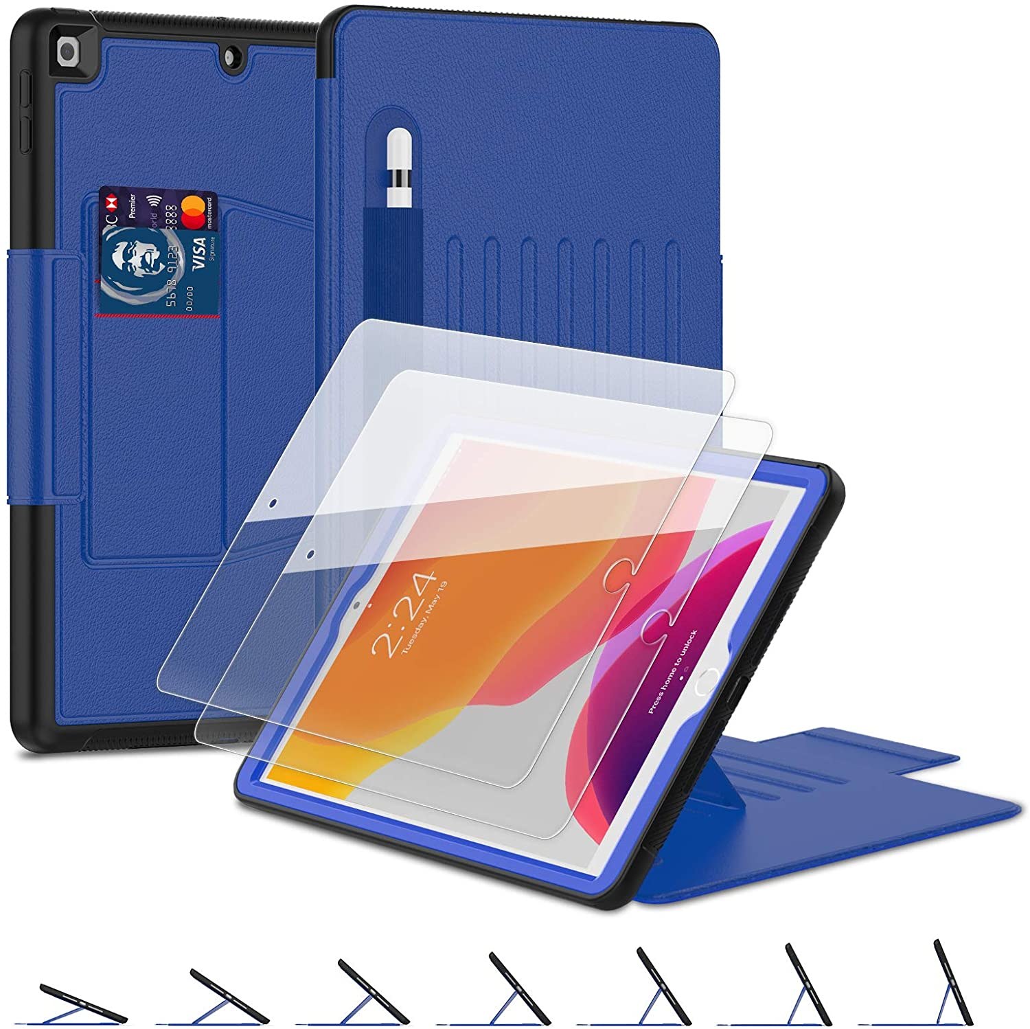iPad 8th/7th Generation Case, iPad 10.2 Case 2020/2019, BASE MALL [Shockproof] Protective Leather Case with [2 Pack] 9H Tempered Glass, 7 Angles Magnetic Stand, Pencil Holder, Sleep/Wake Cover (Blue)